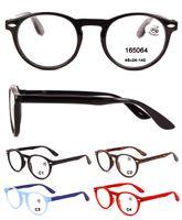 Atacado rodada de plástico ler óculos para as mulheres e homem barato moda leitura óculos de grife óculos de aumento de força 1.00 2.00 3.50