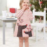 여자 드레스 공주님 아기 튜닉 동물 자수 여자 드레스 어린이 의류 크리스마스 긴 소매 줄무늬 엘크 드레스 여자