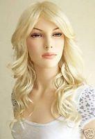 100% nagelneue Qualitäts-Mode-Bild volle Spitzeperücken Neue lange Platin-Blonde gewellte Perücke