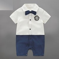 Newborn Baby Boy Clothes Gentleman Cotton Short Sleeve Rompe...