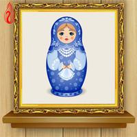 Promoción DIY 5D Full Diamond Bordado Muñecas rusas Diamante redondo Pintura Kits de punto de cruz Diamante Mosaico Decoración del hogar