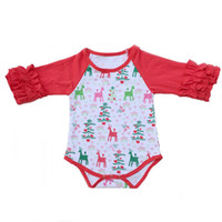 Mode Western Kids Vêtements Cartoon Elk Print Filles Body De Noël Rouge Blanc À Manches Longues Bébé Vêtements Toddler Boutique Romper