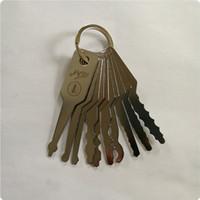 Di alta qualità KLOM 10 pz Jiggler Keys auto Lock Set Set auto Double Sided Lock strumento fabbro professionale in acciaio inox
