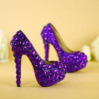 100 ٪ اليدوية أحذية الزفاف المرأة سوبر الكعوب العالية أحذية العروس أحذية الماس كريستال مضخات الأميرة حفل زفاف الأحذية الأرجواني