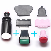 Wholesale- O 7PCS/L XL Large Small Scraper Nail Art Stamping Plate & Double Ended Stamper Image Tool Top Quality Dropship