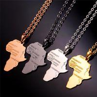 U7 HIPHOP Сплав Ожерелье Золотой Цвет Подвеска Сеть Африканская Карта Подарок для мужчин / Женщин Эфиопские Ювелирные Изделия Ультрадно