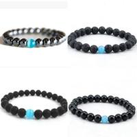 Fashion Unisexe 8mm Natural Lava Pierre Brocelets Bracelets Bijoux chanceux pour Femmes Hommes Charm de Yoga