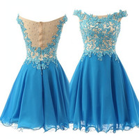 Mooie Royal Blue Prom Dresses 2020 Scoop Applicaties Lace A Line Beaded Homecoming Jurk voor Prom Party Robe de Soiree