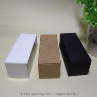 100pcs- 3.6*3.6*10.5 см черный белый крафт-бумага коробка 30 мл капельницы эфирное масло лосьон бутылка спреи косметика подарочные коробки