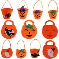 DIY Bolsa de Calabaza de Halloween11 estilos Bolsa de Caramelo Truco o Trato Sonrisa linda Cesta Cara Regalo para niños Bolsos Bolsa de asas semi-terminada