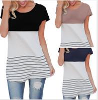T-shirt da donna moda nuove donne di arrivo abbigliamento donna manica lunga contrasto a strisce di colore a righe patchwork tunica t-shirt femminile