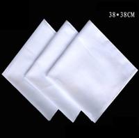 Toptan mendil, pamuk beyaz mendil, 38cm yüksek yoğunluklu beyaz kare, kravat-boya nakış DIY kare boyama, ücretsiz kargo