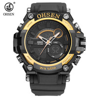 2017 Fashion Original OHSEN Quarzo Digital Watch Men 50m Swim Sport Watch Rubber Band Data Day Display Allarme da polso Relógios