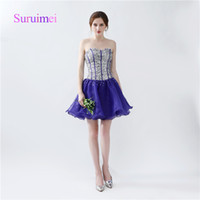 Fast Shipping A Line Sexy Cocktail Dresses Crystal Beaded Pr...
