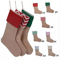 High Quality Christmas Stockings Gifts Bag Burlap Cotton Str...