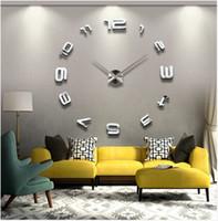 Commercio all'ingrosso- Spedizione gratuita 3D Best Home Decoration Orologio da parete fai da te Orologio da parete unico Adesivi Autoadesivi Autoadesivo Decor Adesivo Moderno orologio da parete