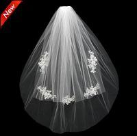 2021 قصيرة الزفاف العروس الحجاب مخصص الدانتيل الأبيض العاج اثنين من طبقات تول مشط vail اكسسوارات قبعة الحجاب الحجاب الزفاف appliqued