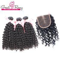 Grearemy 100% non trasformato indiano indiano peruviano fasci vergini peruviani con chiusura superiore 4 * 4 parrucchino riccio wave part mezz'estensione dei capelli