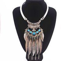 Gros-Mode Bohème Vintage Gypsy Colar Collier Maxi Ethniques Colliers Pendentifs Perles Feuille Tassel Choker Collier X-742