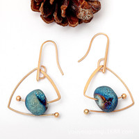 Retro Style Copper Stud Earrings Natural Stone Sky Blue Crys...