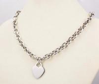 10 mm di larghezza in acciaio inox metallo argento catena collana a catena per le donne grande cuore ciondolo fascino 2,9 centimetri * 2,4 centimetri cuore vuoto tag