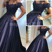 2016 Elegant Navy Blue Satin Ball Gown Arabic Evening Prom D...