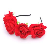 جديد أزياء الزفاف الزفاف العروسة الاصطناعي الزهور روز غطاء الرأس الأميرة اكليلا المجوهرات 2017 للنساء مهرجان prom غطاء الرأس الشعر