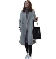 Mujeres otoño invierno abrigos chaquetas cálidas mezclas de lana vintage sólida de gran tamaño de alta calidad invierno abrigo largo Manteau Femme