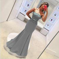Elegante de la fiesta de novia de encaje gris barato sirena dama de honor sin tirantes largo sin espalda Vestidos apliques vestido de dama de honor