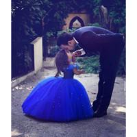 Новый королевский синий цветок девушки платье принцессы бальное платье бусы плиссированные тюль длина пола день рождения девушки на заказ прекрасный конкурс