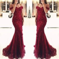 Mermaid Red Robe De Soiree 2019 Sexy Prom Dresses Retro Lace...