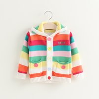 Everweekend Girls Stripes Knitted Sweater Cardigans with Hat...