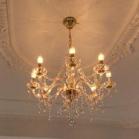 Altın kristal avize 8 ışıklar çağdaş tavan avize modern mum kristal avizeler murano venedik tarzı avize