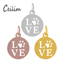 Wholesale full polish metal love charm word hollow pet paw d...