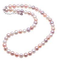 7-8mm Natural South Sea White Pink Purple Mix Collana di perle 17 pollici chiusura in argento 925