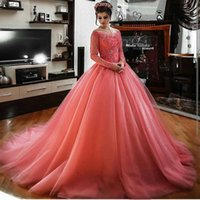 Elegant Coral Long Sleeve Women Formal Evening Dresses Ball ...