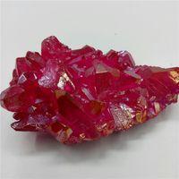 68 Gramm der natürlichen Quarzkristallgruppe stieg rotes Engelsaura-Gruppenprobenstückheilen, das für Dekoration kuriert wurde