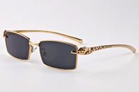 2018 yarı yarı Rimless White Buffalo Horn kutu dava ile Moda Güneş Online Toptan Tasarımcı Marka Gözlük gözlük