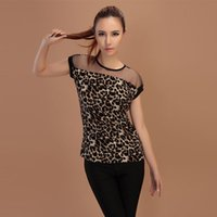 Wholesale- Summer Lady Punk Rock Leopard Sheer Mesh T- Shirts...