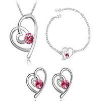 Mode Cœur Crystal Set Pendentif Collier Charm Bijoux Ensembles Collier Stud Boucles d'oreilles Bracelets Noble Bijoux pour Femmes Cadeau de Noël