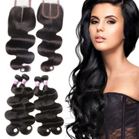 8A Brazilian Body Wave 3 Bundles With Closure Cheap Brazilia...