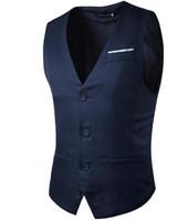 Falso Pocket Vest maschio senza maniche Matching Color design monopetto Cotton Belt Slim Fit per il vestito da uomo della maglia di feste nave libera