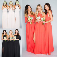Дешевые длинные черный коралл шифон пляж bohemian платья невесты длина полов плюс размер горничной чести платье на заказ boho bridemaid платье