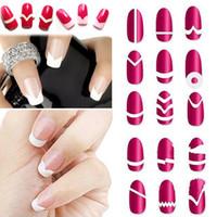 Wholesale-18Pc / Set tipo casuale !! Moda fai da te French Manicure Form Nail Art Suggerimenti adesivi nastro guida decorazione stencil