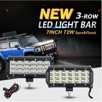 2 UNIDS 72 W 7 pulgadas Chips CREE 3-Row LED Luces de Trabajo Flood Spot Beam Led Bar Offroad Driving Work Lámpara Camión SUV ATV 4x4 4WD 12 v