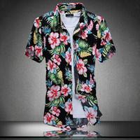 Atacado- Ahkuci 2019 manga curta dos homens novos camisa havaiana verão estilo de algodão Floral homens casuais praia Havaí camisas F M-5XL Blusa Masculina
