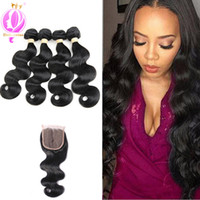 Body Wave Peruvian Human Hair 4 Bundles with Closure Unproce...