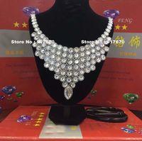 Atacado de cristal de strass Applique de prata Patches nupcial Garment Dress Costume Applique