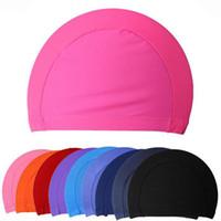 Al por mayor caliente de la venta del nuevo del verano Unisex Hombres Mujeres cómodo elástico color puro Swim Piscina envío libre del sombrero del casquillo