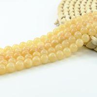자연 노란 옥 비즈는 DIY 쥬얼리를위한 SemiphreceCous 보석 구슬 공급 4 / 6 / 8 / 10mm 전체 스트랜드 15 인치 L0155 #